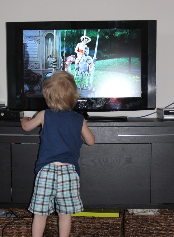 Aiden in front of the TV