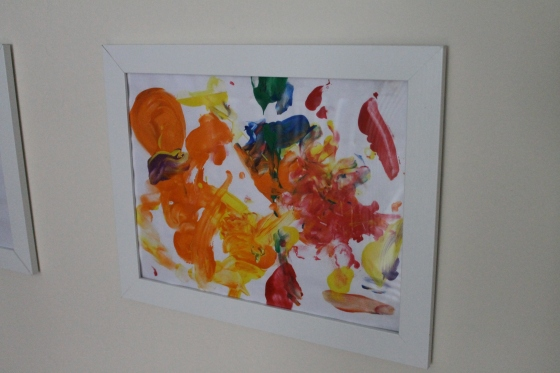 One of his first finger paintings