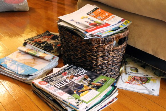 our haphazard pile of magazines found throughout our house