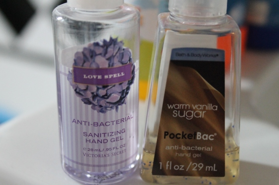 Two hand sanitizers. Don't need 'em in the bathroom, we've got soap