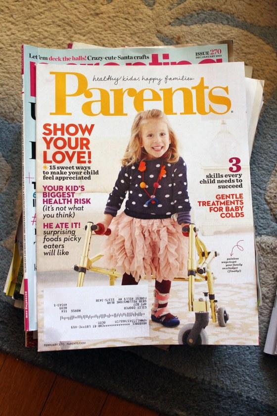the parenting magazine pile