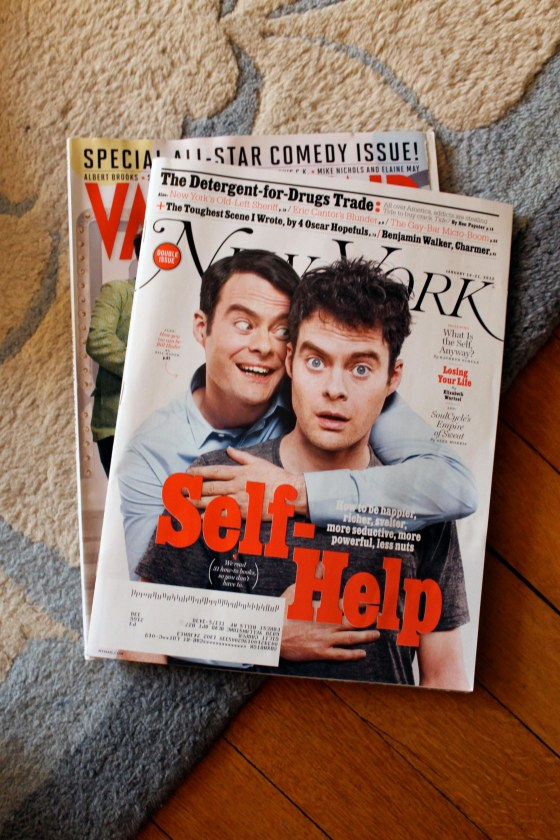 the magazines I haven't gotten to read yet, Vanity Fair and New York Magazine pile