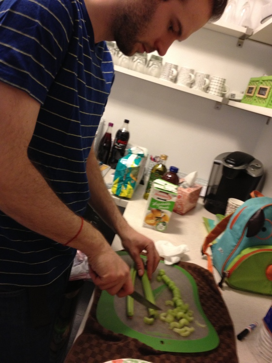 Tuvia chopping up some veggies for the stew